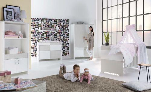 Commode à langer 4 tiroirs laqué blanc et taupe Joy - Photo n°3; ?>