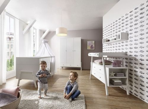 Commode avec plan à langer 2 tiroirs bois laqué blanc Holly White - Photo n°3; ?>