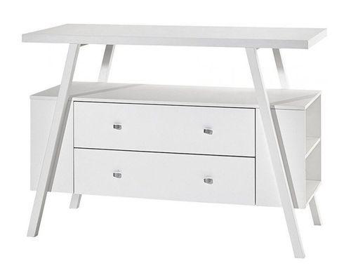 Commode avec plan à langer 2 tiroirs bois laqué blanc Holly White - Photo n°2; ?>
