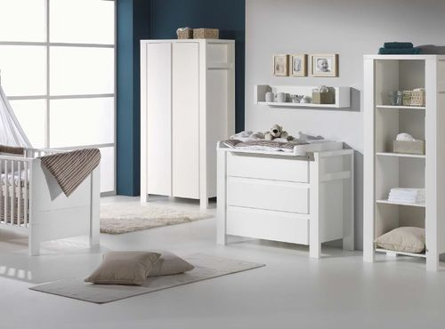 Commode avec plan à langer 3 tiroirs laqué blanc Milano White 110 cm - Photo n°2; ?>