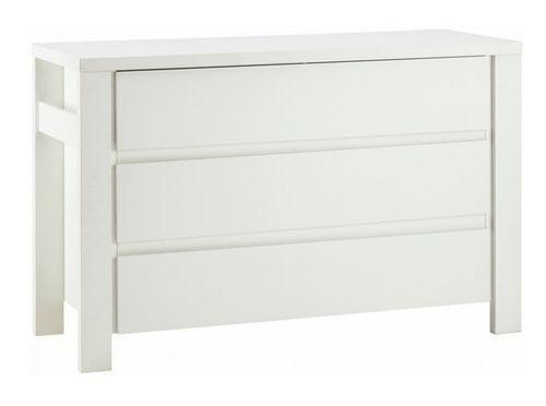 Commode avec plan à langer 3 tiroirs laqué blanc Milano White 139 cm - Photo n°2; ?>