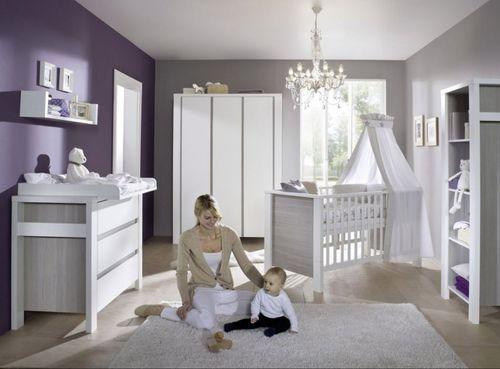 Commode avec plan à langer laqué blanc et pin gris Milano Pinie - Photo n°2; ?>