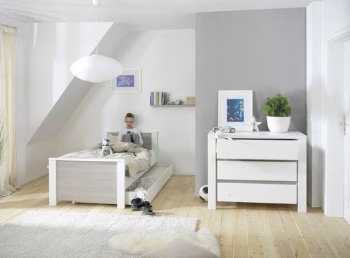 Commode avec plan à langer laqué blanc et pin gris Milano Pinie - Photo n°3; ?>