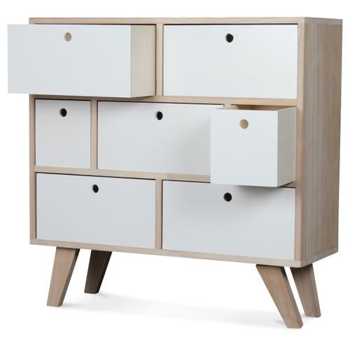 Commode bois scandinave 7 tiroirs blanc Norvik - Photo n°2; ?>