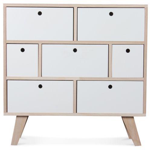 Commode bois scandinave 7 tiroirs blanc Norvik - Photo n°3; ?>