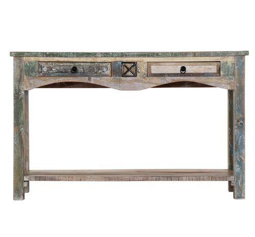 Console 2 tiroirs bois massif recyclé Moust - Photo n°3; ?>