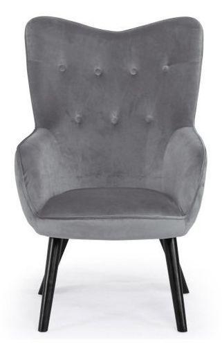 Fauteuil velours gris et pieds bois noir Kallyr - Photo n°2; ?>