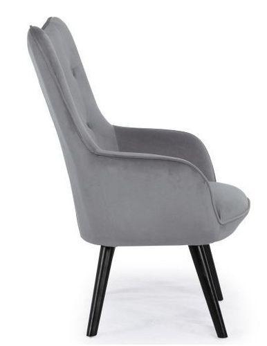Fauteuil velours gris et pieds bois noir Kallyr - Photo n°3; ?>