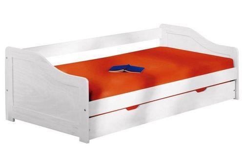 Lit banquette avec tiroir lit pin massif blanc Theo 90x190 cm - Photo n°2; ?>