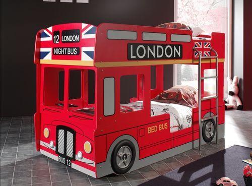 Lit superposé bus Londres 90x200 cm bois laqué rouge Cara - Photo n°3; ?>
