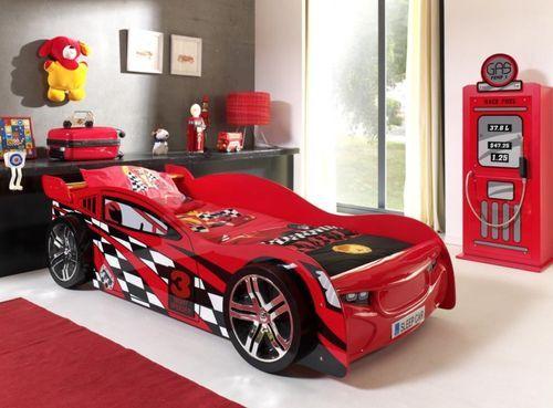 Lit voiture de course 90x200 cm bois rouge Spider - Photo n°3; ?>