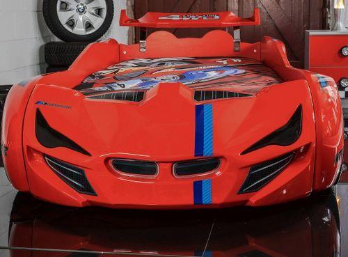 Lit voiture de course turbo V1 rouge 90x190 cm - Photo n°3; ?>
