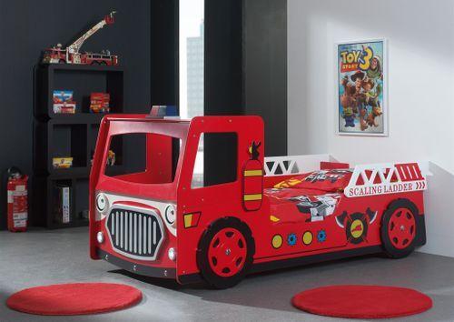 Lit voiture pompier 90x200 cm bois laqué rouge Cara - Photo n°2; ?>