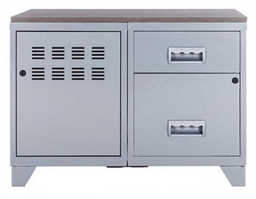 Meuble 1 porte 2 tiroirs métal gris aluminium et plateau chêne naturel Naya L 80 x H 60 x P 40 cm - Photo n°2; ?>
