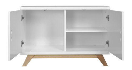 Meuble bas 2 portes bois laqué blanc et pieds hêtre clair Lynn - Photo n°2; ?>