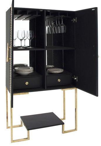 Meuble de bar art déco acier doré et simili cuir noir Lazur - Photo n°2; ?>