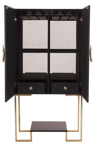 Meuble de bar art déco acier doré et simili cuir noir Lazur - Photo n°3; ?>