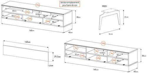 Meuble TV bois foncé et tissu acoustique noir Daphné 160 cm - Photo n°3; ?>