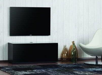 Meuble TV suspendu Studio 110 verre infrarouge et bois mélaminé mat noir - Photo n°3; ?>