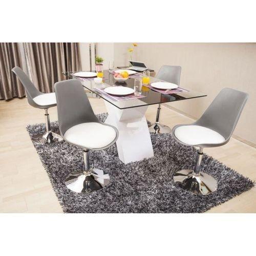 POPPY Chaise de salle a manger pivotante - Simili gris et blanc - Contemporain - L 48,5 x P 53 cm - Photo n°3; ?>