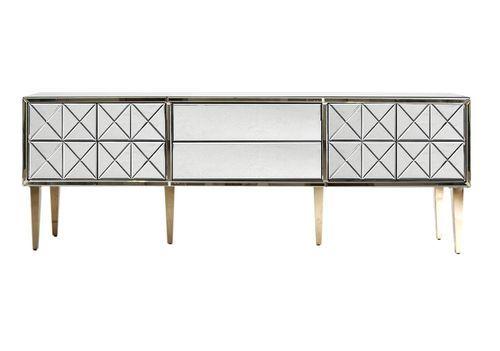 Meuble TV 2 portes 2 tiroirs miroir et pieds acier doré Barnes 200 cm - Photo n°2; ?>