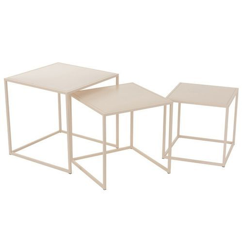 Set de 3 tables d'appoint métal beige Praji - Photo n°3; ?>
