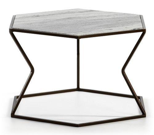 Table basse marbre gris et métal marron Trois - Photo n°2; ?>