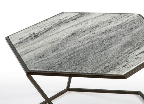 Table basse marbre gris et métal marron Trois - Photo n°3; ?>
