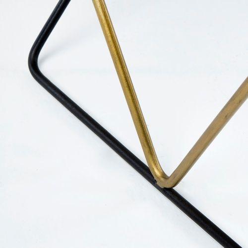 Table basse rectangulaire marbre blanc et métal noir et doré Karl - Photo n°3; ?>