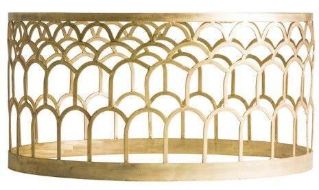Table basse ronde art déco métal doré et plateau marbre Sacha - Photo n°2; ?>