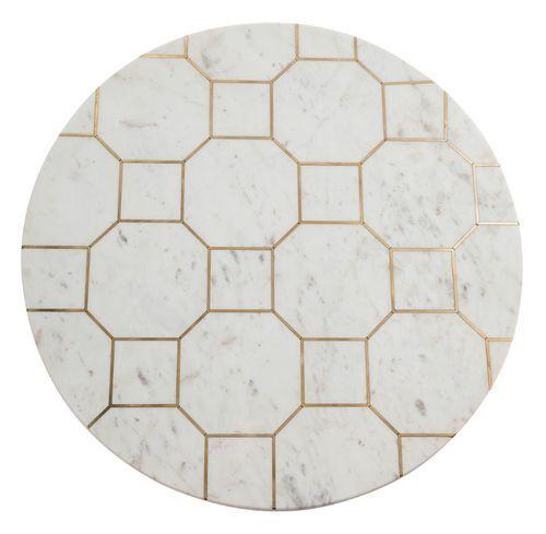 Table basse ronde marbre blanc et métal doré Sami - Photo n°2; ?>
