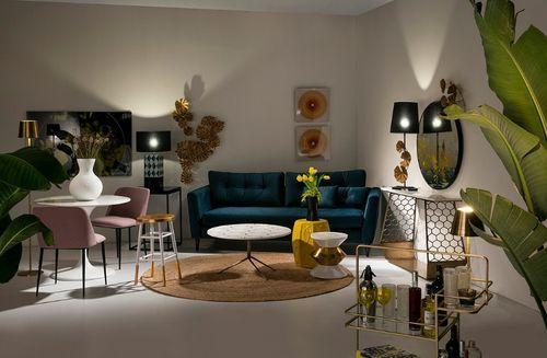 Table basse ronde marbre blanc et métal doré Sami - Photo n°3; ?>