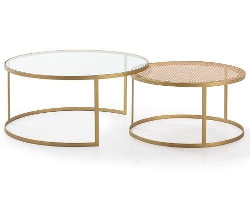 Table basse verre transparent rotin naturel et métal doré Brunie - Lot de 2 - Photo n°2; ?>