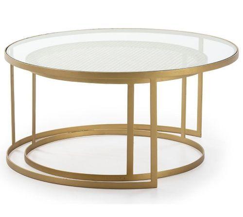 Table basse verre transparent rotin naturel et métal doré Brunie - Lot de 2 - Photo n°3; ?>