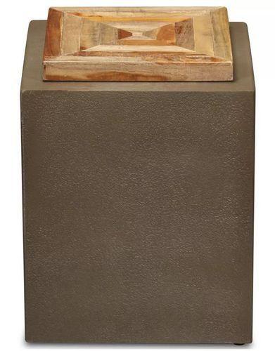 Table d'appoint carrée teck massif clair et pieds béton Tokako - Photo n°2; ?>