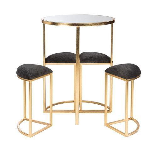 Table de bar et 4 tabourets métal doré et tissu noir Ysarg - Photo n°3; ?>