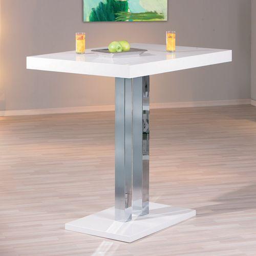 Table de bar laqué blanc et pieds métal chromé Razzi 120 cm - Photo n°3; ?>