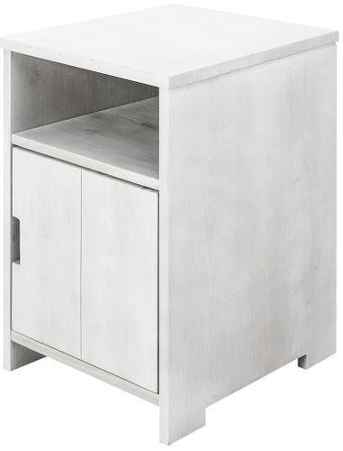 Table de chevet 1 porte 1 niche pin massif blanc Basic Wood - Photo n°2; ?>