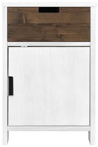 Table de chevet 1 porte 1 niche pin massif blanc Basic Wood - Photo n°3; ?>