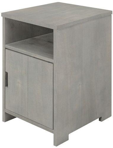 Table de chevet 1 porte 1 niche pin massif gris Basic Wood - Photo n°2; ?>