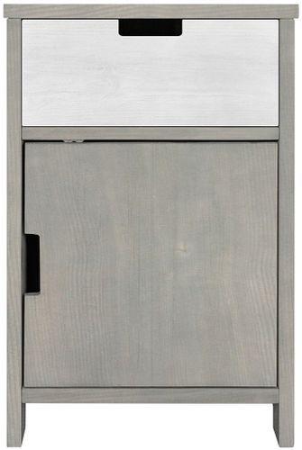 Table de chevet 1 porte 1 niche pin massif gris Basic Wood - Photo n°3; ?>