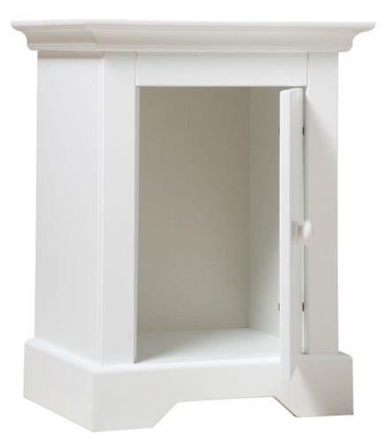 Table de chevet 1 porte bois blanc à rainures Narbonne - Photo n°2; ?>
