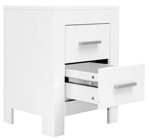 Table de chevet 2 tiroirs bois blanc Merel - Photo n°2; ?>