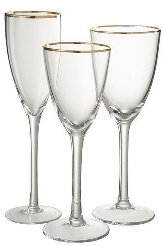 Verre à vin transparent et verre doré Ysarg - Photo n°2; ?>