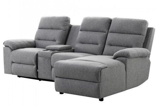 Canapé d'angle droit relax manuel 3 places tissu gris chiné avec appuis tête Helane - Photo n°2; ?>