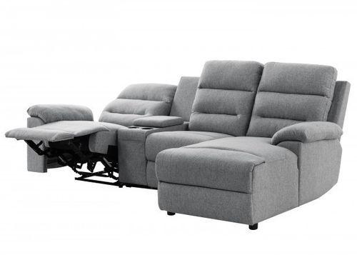 Canapé d'angle droit relax manuel 3 places tissu gris chiné avec appuis tête Helane - Photo n°3; ?>