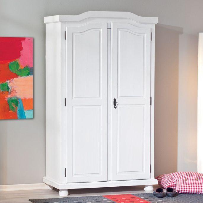 Armoire 2 portes pin massif blanc Batiste - Photo n°4