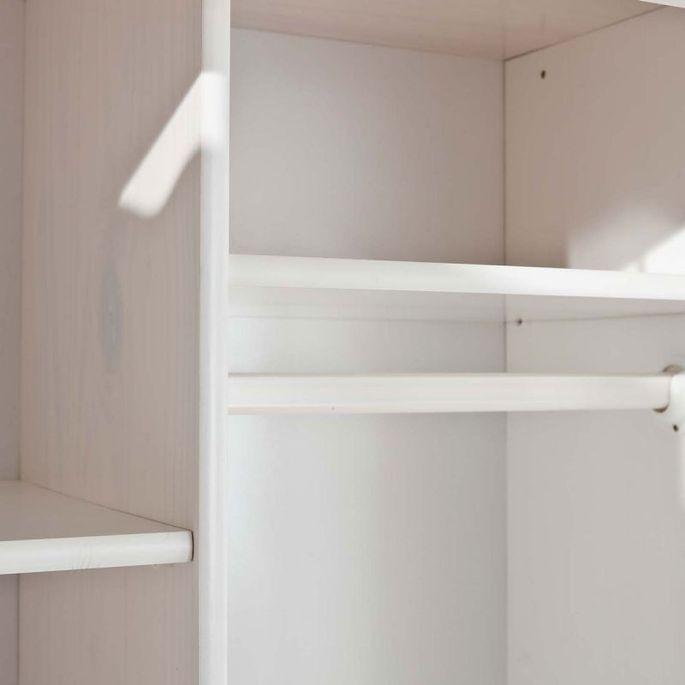 Armoire 2 portes pin massif blanc Batiste - Photo n°5