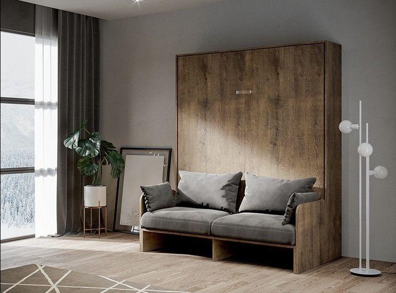 Armoire lit escamotable verticale avec canapé bois noyer 160x200 cm Skoda - Photo n°5