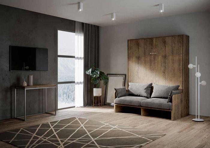 Armoire lit escamotable verticale avec canapé bois noyer 160x200 cm Skoda - Photo n°1